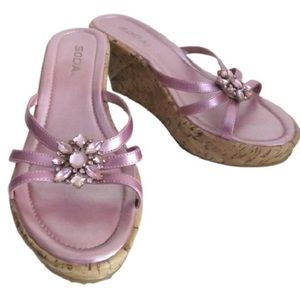 Shoes - Women's Pink Strap And Stones Wedge Shoes Size 8.5